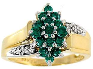 .50ct Teal Green White Diamond cluster ring