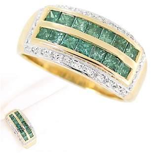 YG 1.06ct blue diamond princess dia band ring