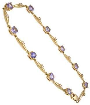 14KY 1.80ct Tanzanite .10ct Diamond bracelet