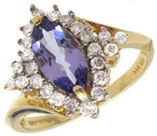 14KY .87ct Fine Tanzanite Ring w/.24ctw Diamonds