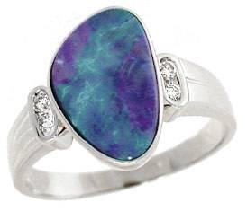 WG 1.75ct Boulder Opal freeform .08 dia ring
