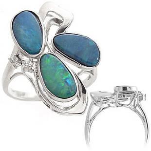 WG 2ct 3 Boulder opal bezel diamond ring