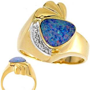1ct Boulder Opal .01 Diamond ring