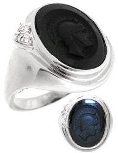 10WG Black Onyx trojan mans dia ring