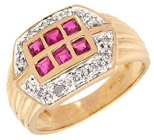 14KY .65cttw ruby channel Dia ring