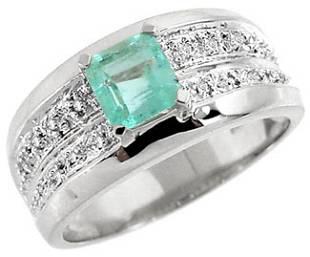 WG .75 Columbian Emerald princess .08dia ring