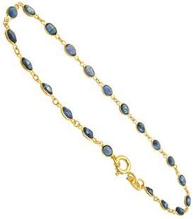 18KY 3cttw blue sapphire oval bracelet 7inch
