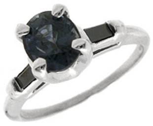 14KW 1ct 456209Sapphire Black Dia bagguette rg