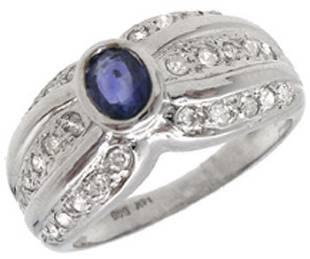 14WG .43ct Blue Sapphire .31 Diamond Ring