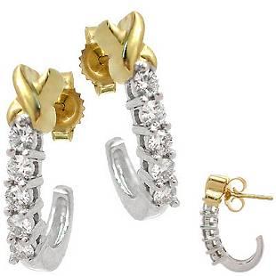 14KW .50cttw Diamond X earring