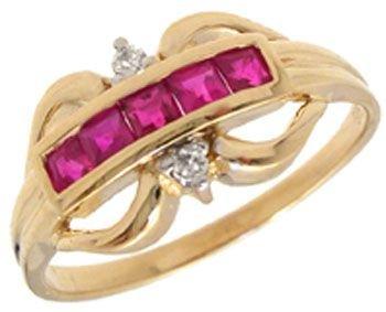 5302: 14YG .31ct Ruby bagguette dia band ring