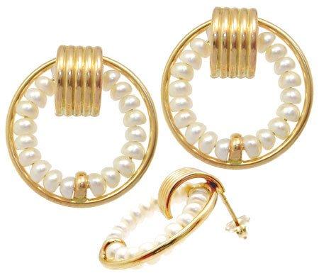 5308: 14YG 3mm white pearl flat hoop earring