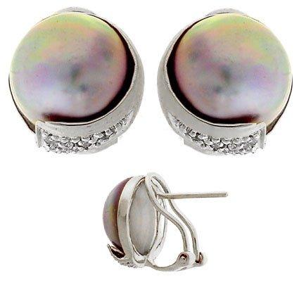 5310: 14WG 12.5mm pink Mabe pearl diamond earring