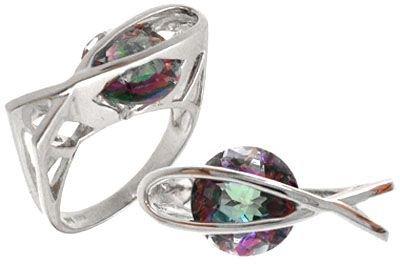 5312: 14 KWG 3 ct Mystic topaz designer fish ring