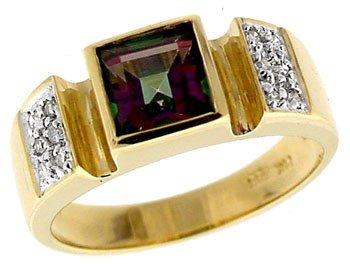 5313: 14KY 1.35ct Mystic topaz princess .08dia ring