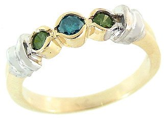 5315: .30ct blue diamond 3 stone 1/2 bezband ring