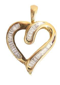 5316: 10KY .50Ct DIAMOND Baguette heart Pendant