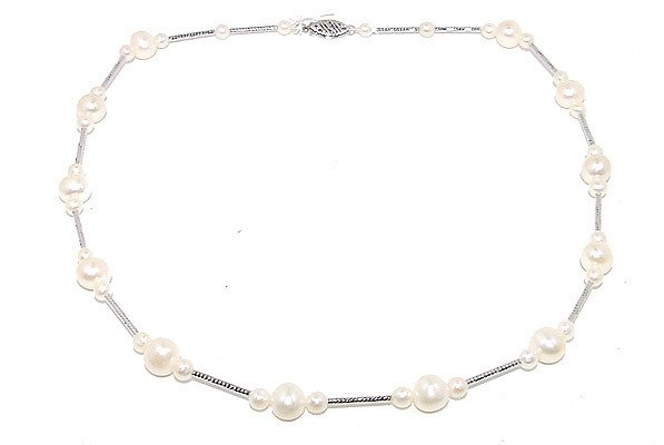 5325: 14KW 7/4m White Pearl Tin Cup 18inch Necklace