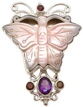 5318: Pink mother of pearl multi-gem butterfly pendant