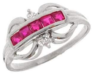 14WG .31ct Ruby bagguette dia band ring