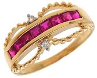 14KY .70ct Ruby princess dia band ring