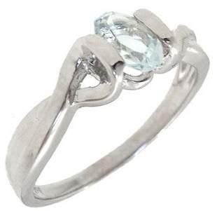 14KW .50ct Aquamarine oval 1/2 bezel ring