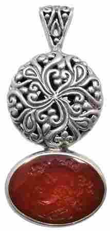 Silver Carved Carnelian Helenic Intaglio Slide Pen