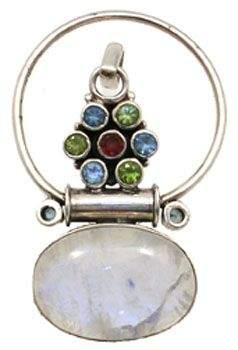 Moonstone and multi-gem pendant