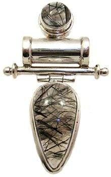 SSilver tourmalinated quartz pendant