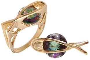 14 KYG 3 ct Mystic topaz designer fish ring
