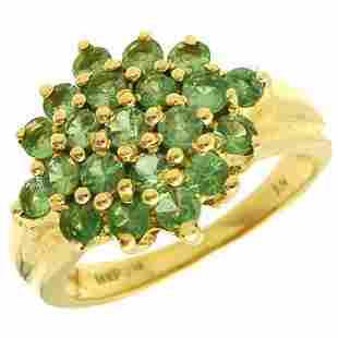 14YG 1cttw Tsavorite Garnet cluster ring