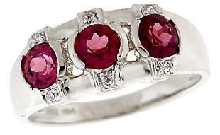 14WG 1.30ctw Rhodolite Garnet Diamond Ring