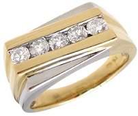 319: 14YG .50ct Diamond mans ribbed 2tone ring