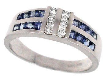 1277: WG .75c sapphire princess chan .13dia ring
