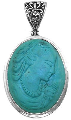 1278: SSilver and Turquoise Cameo Pendant