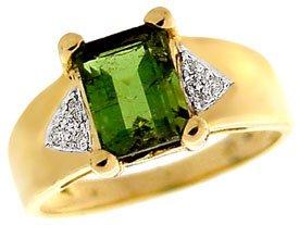 1285: 2.10ct Green Tourmaline ecut dia ring