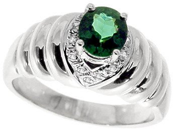 1286: WG.80ct green tourmaline oval dia ribbed ring