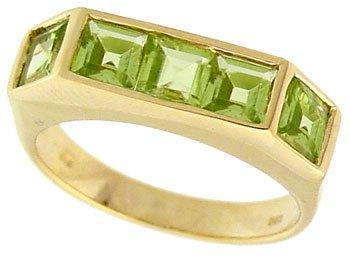 1287: 14YG 1.25ct Peridot princess band ring