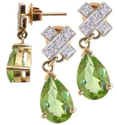 1288: 14KY 2.76cttw Peridot diamond X earring