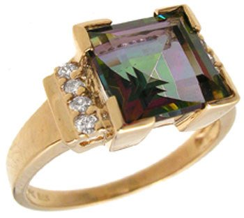 1289: 14KYG 3.38ct Mystic topaz .09ct diamond ring