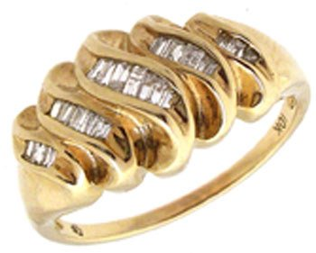 1292: 10YG .25ct channel band wave ring