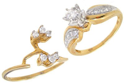 1293: 10KY .38ct Diamond wedding ring set