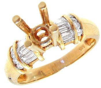 1294: 14KY .38ct Diamond bag/rd semi mount ring