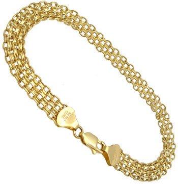 1295: 14KY Flat Bismark bracelet 7inch 3.7gr