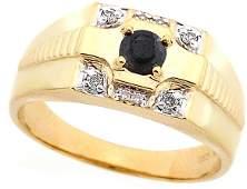 1309: 14KY .39ct Black & white diamond mans ring