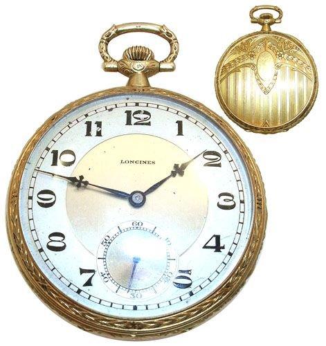 1421: 18KY gold Longines mans pocket watch
