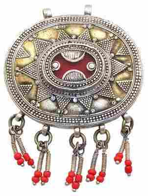 Silver Red Glass antique afghan turkman pendant