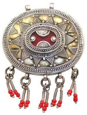 2279: Silver Red Glass antique afghan turkman pendant