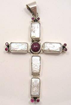 Pearl and ruby cross pendant