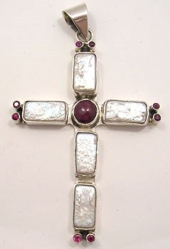 2280: Pearl and ruby cross pendant